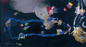 Johannes Jäger, o. T. - 2003 / 1, Acryl, Collage auf Papier auf Rupfen, Schenkung des Künstlers, Sammlung der Stadtgalerie, Inv. Nr. 2005-2003-4