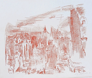 MANHATTAN II, 1966, Lithografie, 63,5 x 75,4 cm, Sammlung und Kunststiftung Spielmann-Hoppe, © Fondation Oskar Kokoschka / VG Bild-Kunst, Bonn 2016